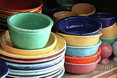 Antique Fiesta Dishes I Art Print by Marilyn West