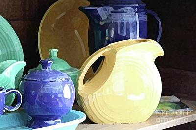 Antique Fiesta Dishes II Art Print by Marilyn West