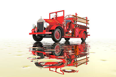 Digital Art - Antique Fire Engine by Carol and Mike Werner