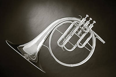 Photograph - Antique French Horn Isolated by M K  Miller