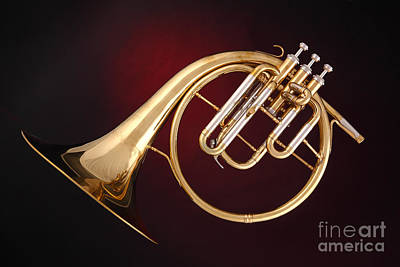 French Horn Photograph - Antique French Horn On Deep Red by M K  Miller