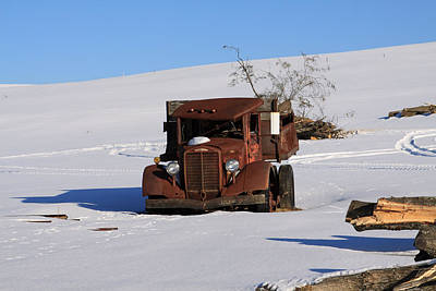 Photograph - Antique Grungy Farm Truck In Snow by John Stephens