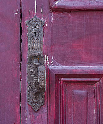 Photograph - Antique Latch On Purple Door by Michael Flood