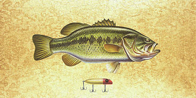 Tackle Painting - Antique Lure And Bass by JQ Licensing