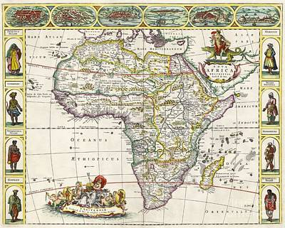 Africa Drawing - Antique Map Of Africa by Dutch School