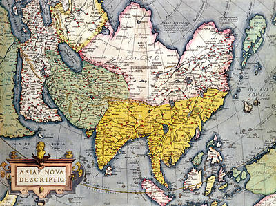 Russia Drawing - Antique Map Of Asia by Claes Jansz