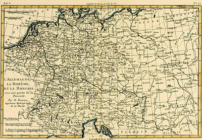 Antique Map Of Germany Bohemia And Hungary With Part Of Poland Art Print by Guillaume Raynal