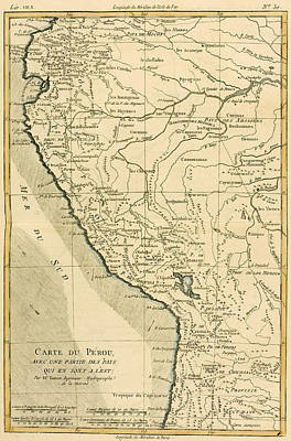 Geneva Drawing - Antique Map Of Peru by Guillaume Raynal