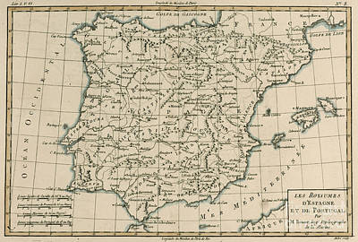 Border Drawing - Antique Map Of Spain by Guillaume Raynal