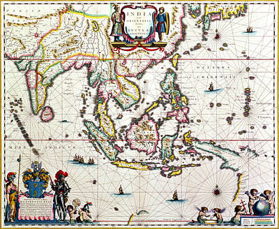 Antique Map Showing Southeast Asia And The East Indies Art Print by Willem Blaeu