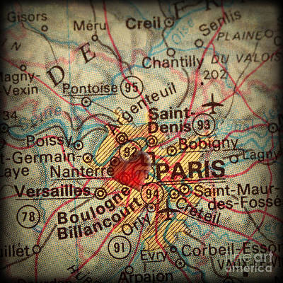 Antique Map With A Heart Over The City Of Paris In France Art Print by ELITE IMAGE photography By Chad McDermott