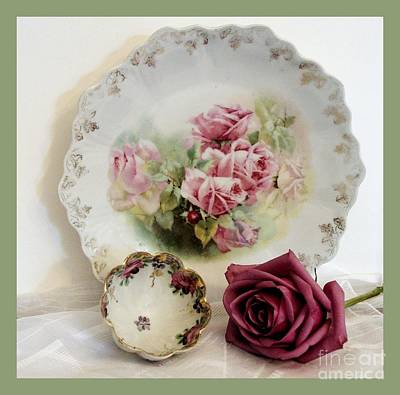 Antique Rose Plate And Fingerbowl Print by Marsha Heiken