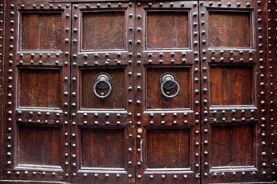 Antique Wood Door In Florence Art Print by Giuseppe Ceschi