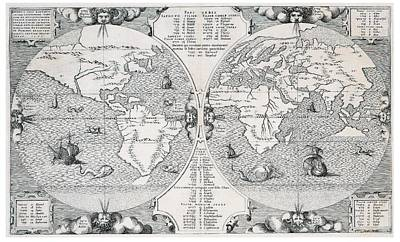 Cartography Drawing - Antique World Map by Benito Arias Montano