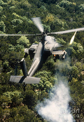 Apache Helicopter Firing Art Print by Stocktrek Images