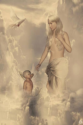 Twelve Olympian Gods Digital Art - Aphrodite And Eros by Lourry Legarde