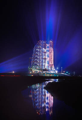 Onward Photograph - Apollo 11 Sits On Its Launchpad by O. Louis Mazzatenta