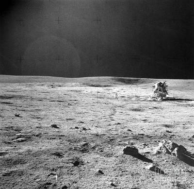 Apollo 14 & Shepard On Moon Near Fra Art Print by NASA / Science Source