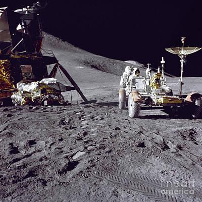 Apollo 15 Photograph - Apollo 15 Astronaut Loads The Lunar by Stocktrek Images