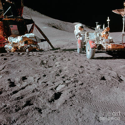 Apollo 15 Photograph - Apollo 15 Astronaut Works At The Lunar by Stocktrek Images