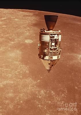 Apollo 15 Photograph - Apollo 15 Command Module Above Moon by NASA / Science Source