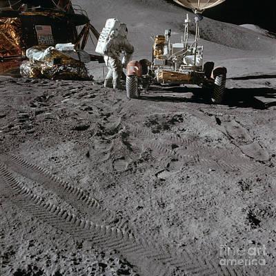 Apollo 15 Photograph - Apollo 15 Land Rover & Module by Nasa