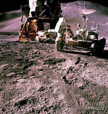 Apollo 15 Photograph - Apollo 15 Lm And Rover by Nasa