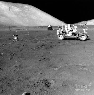 Apollo 17 Image Of Land Rover On Moon Art Print by Stocktrek Images