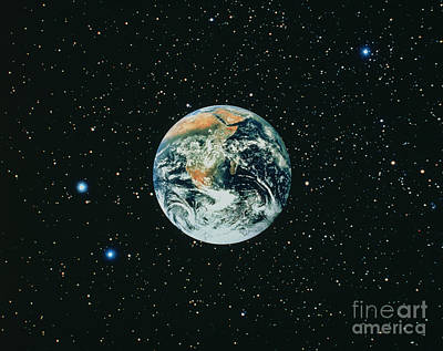 Apollo 17 View Of Earth With Starfield Art Print by NASA / Science Source