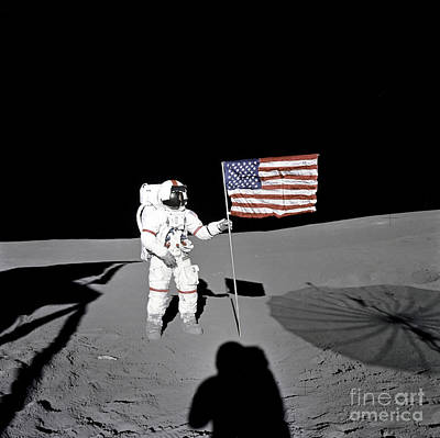 Apollo Astronaut Stands Art Print by Stocktrek Images