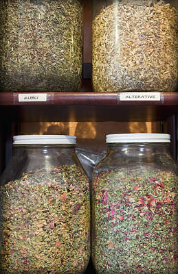 Material Glass Photograph - Apothecary Shop Shelves by Bryan Mullennix
