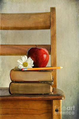 Photograph - Apple And Books On Old School Chair by Sandra Cunningham