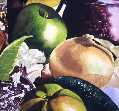 Painting - Apple And Onion by Eunice Olson