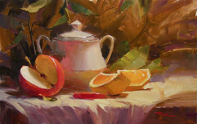 Richard Robinson Painting - Apple And Orange by Richard Robinson