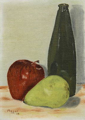 Painting - Apple And Pear by Alan Mager