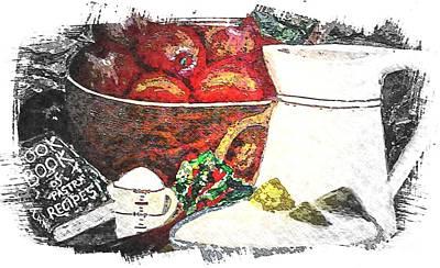 Cookbook Digital Art - Apple And Rhubarb Pie by Barbara Griffin