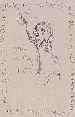 Primitive Drawing - Apple In The Hand by Catherine Carr