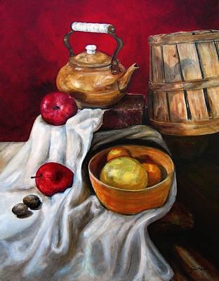Teapot Painting - Apple Pecan Still Life by Joan Hogan