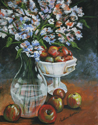 Painting - Apples And Flowers by Pauline  Kretler