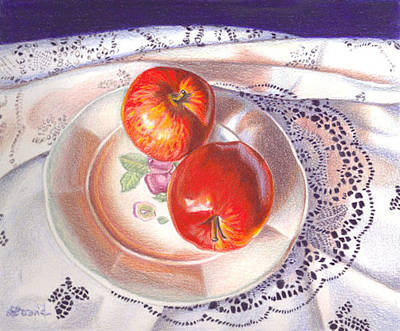 Apples And Lace Art Print by Lidia Penczar