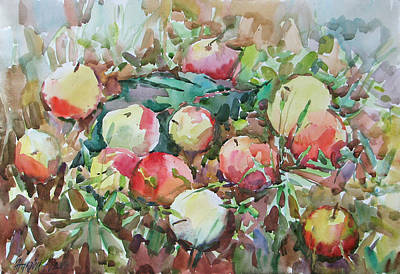 Painting - Apples On Grass by Juliya Zhukova