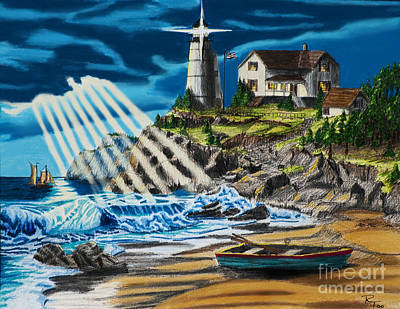 Lighthouse Drawing - Approaching Storm by Robert Thornton
