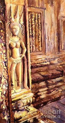 Cambodia Painting - Apsara Bas-relief by Ryan Fox