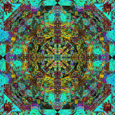 Digital Art - Aqua Mandala by Betsy Jones