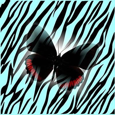 Aqua Zebra With Black Butterfly Art Print by Florene Welebny