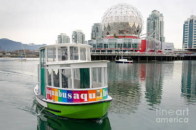 Taxis Photograph - Aquabus Telus World Of Science False Creek Vancouver Bc Canada by Andy Smy