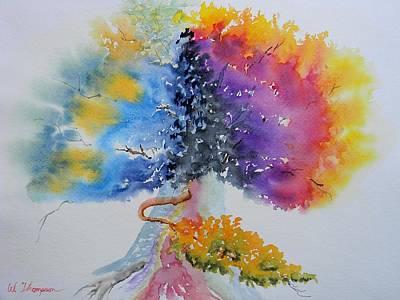 Tree Roots Painting - Aquarelle Live Oak by Warren Thompson