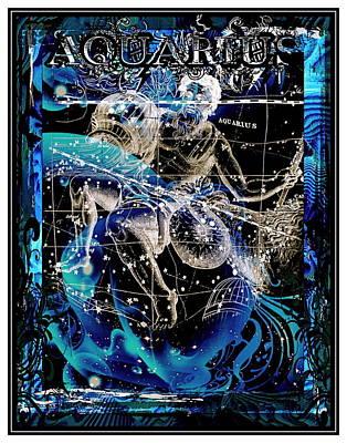 Sign Of Zodiac Digital Art - Aquarius by Janiece Senn