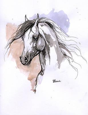 Arabian Horse Ink Drawing 1 Art Print by Angel  Tarantella