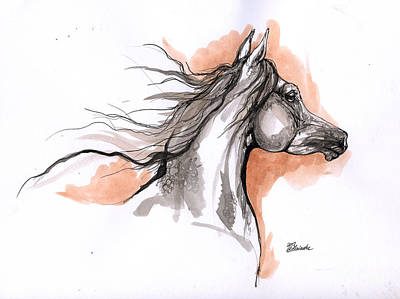 Arabian Horse Ink Drawing 3 Art Print by Angel  Tarantella